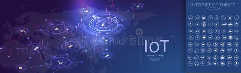 Internet van dingen IoT en voorzien van een netwerk vector illustratie