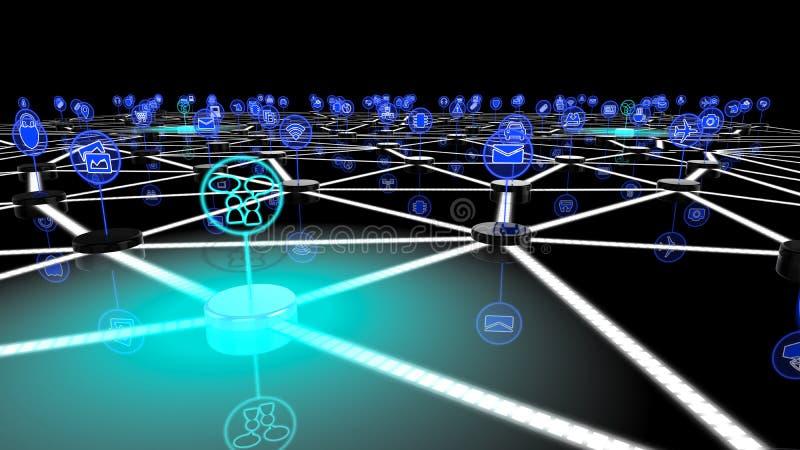 Internet van dingen sociaal netwerk stock illustratie