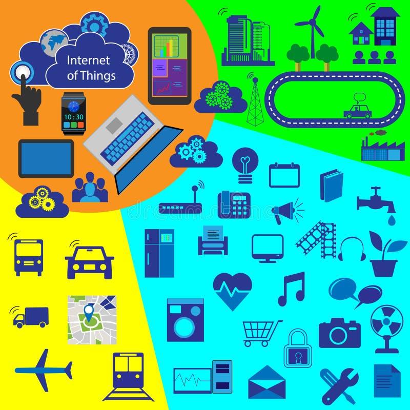 Internet van dingen, vectorpictograminzameling stock illustratie