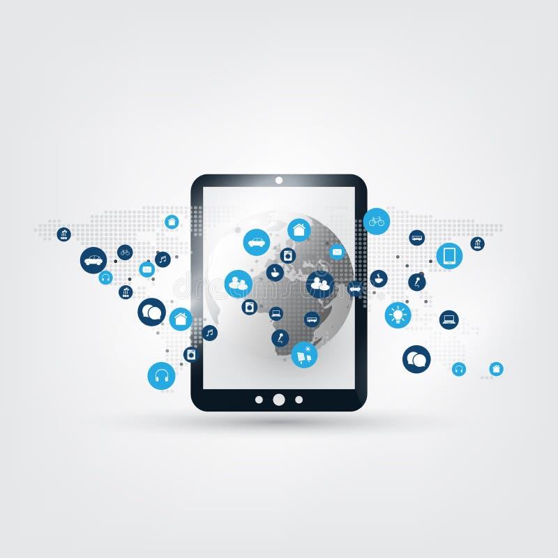 Internet van Dingen, Wolk het Concept van het Gegevensverwerkingsontwerp met Pictogrammen - Digitaal Netwerkverbindingen, Technol royalty-vrije illustratie