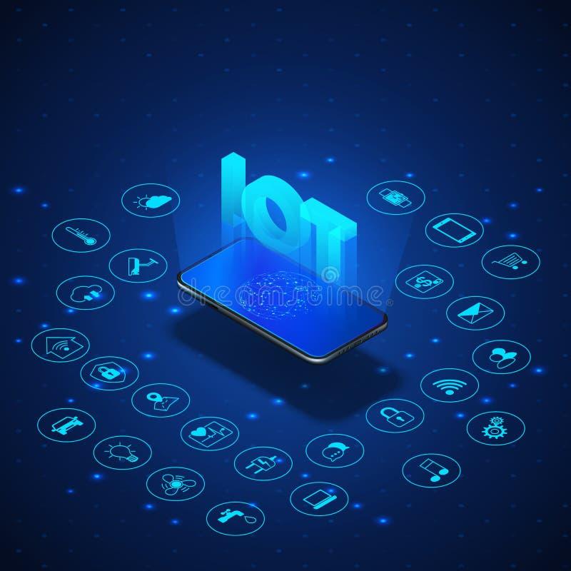 Internet van dingenconcept De isometrische banner van IOT Digitaal globaal ecosysteem Controle en controle door smartphone royalty-vrije illustratie