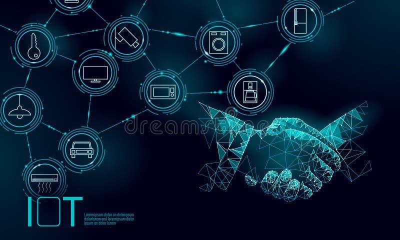 Internet van het concept van de het werkhanddruk van het dingenpictogram Slim het netwerkiot ICT van de stadsdraadloze communicat royalty-vrije illustratie