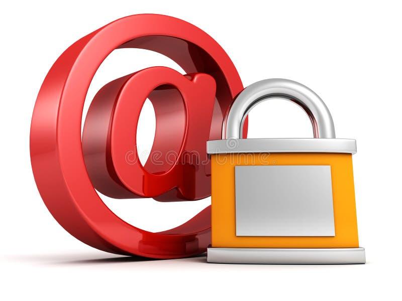 Internet Van Het Concept Veiligheid: Rood Bij E-mailsymbool Met Hangslot Royalty-vrije Stock Afbeelding