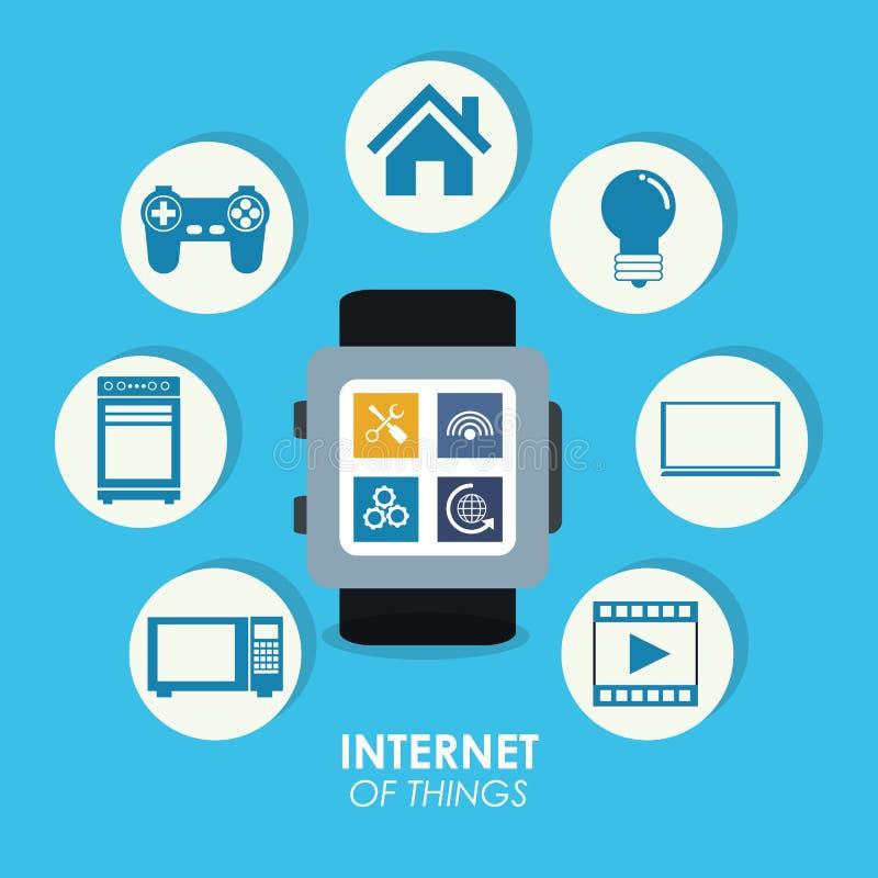 Internet van in sociale media van het dingen de slimme horloge stock illustratie