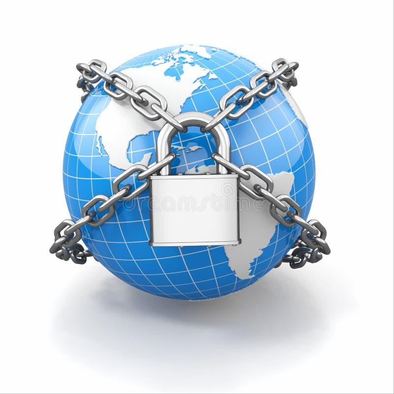 Internet-veiligheid comcept. Aarde en slot. stock illustratie