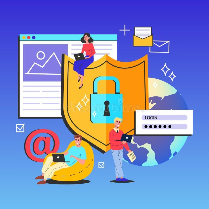 Internet-veiligheid en de illustratie van het gegevensbeschermingconcept stock illustratie