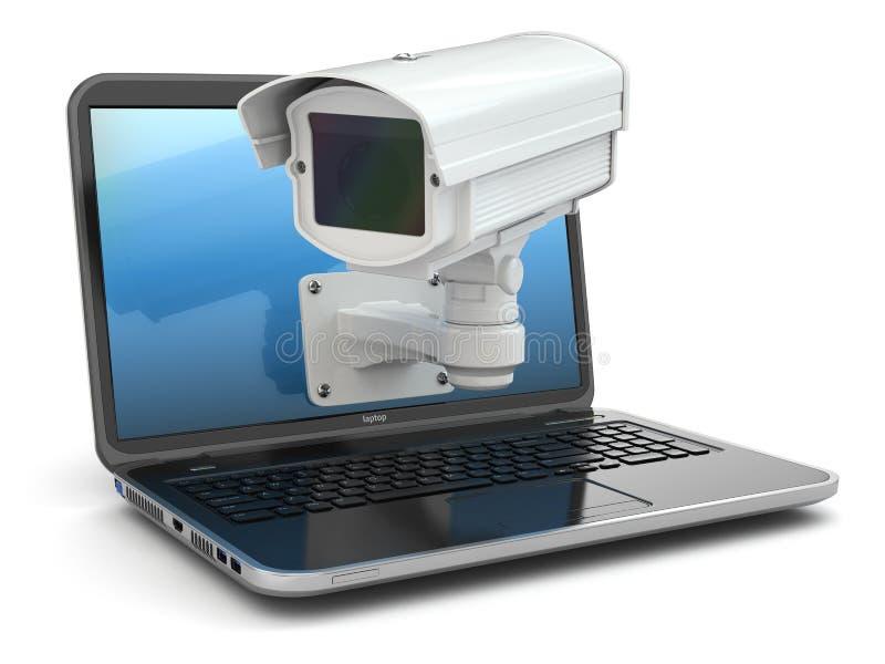 Internet-veiligheid. Laptop en kabeltelevisie vector illustratie