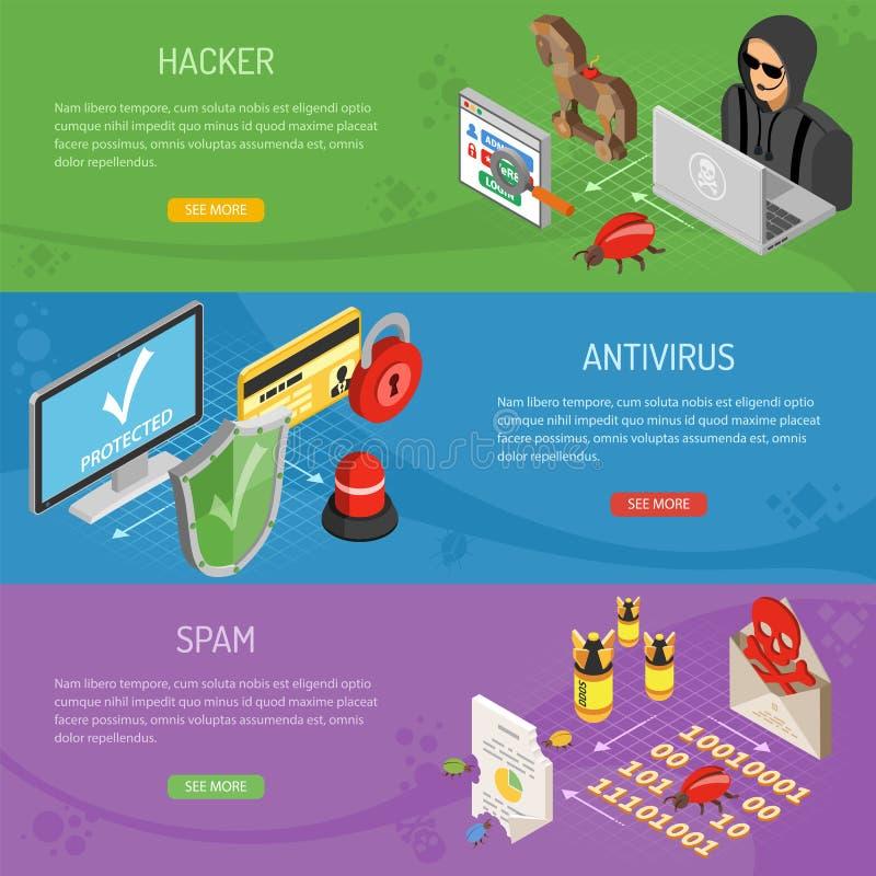 Internet-Veiligheids Isometrische horizontale Banners stock illustratie