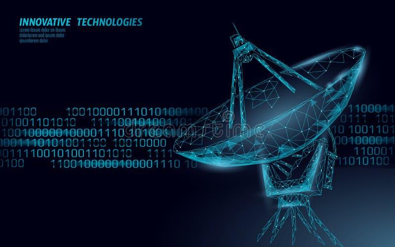 Internet-veiligheidsantivirus systeem Lage poly veelhoekige radar persoonlijke gegevensbeveiliging De opsporingsvector van de hak vector illustratie