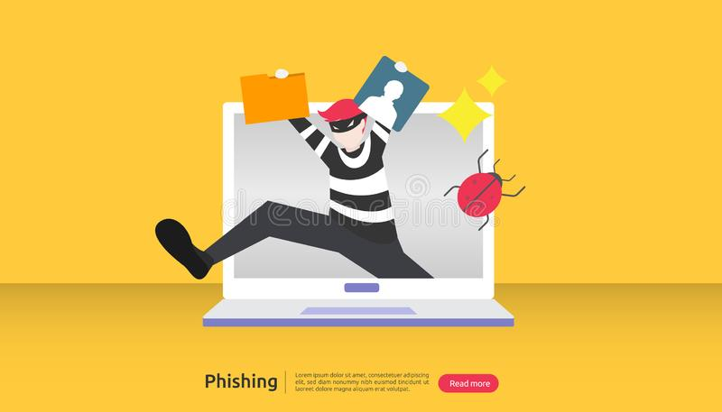 Internet-veiligheidsconcept met uiterst klein mensenkarakter wachtwoord phishing aanval Stealing persoonsgegevens Weblandingspagi vector illustratie