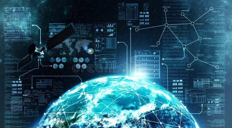 Internet-verbinding in kosmische ruimte royalty-vrije stock foto