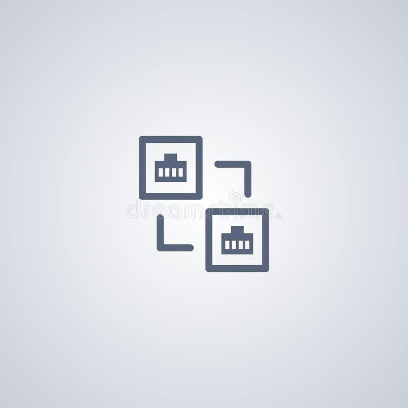 Internet-verbinding, lan, vector beste vlak pictogram royalty-vrije illustratie