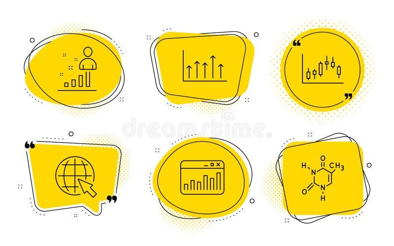 Internet, vermarktende Statistiken und Kerzenständerdiagrammikonensatz Zeichen der Wachstumstabelle, Notfall und der chemischen F lizenzfreie abbildung