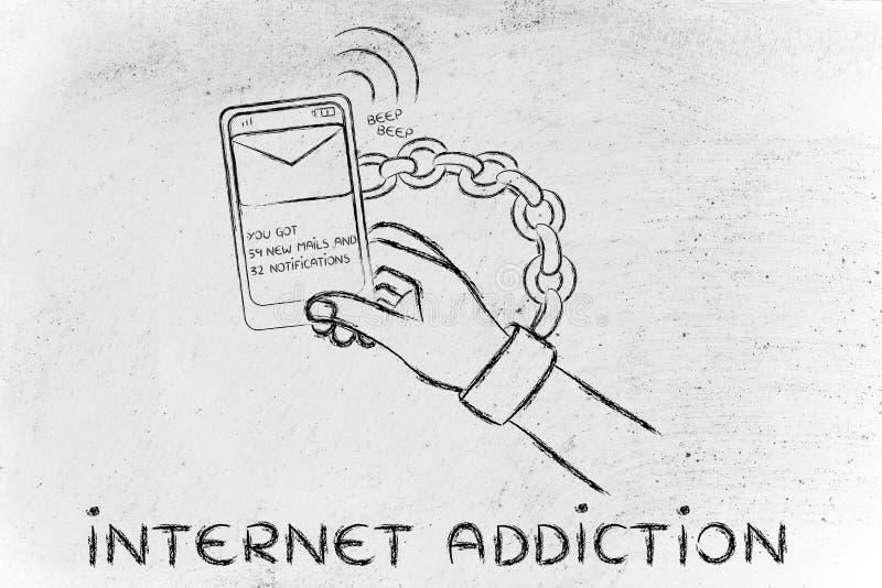 Internet-verslaving, illustratie van hand die aan mobiel wordt geketend vector illustratie