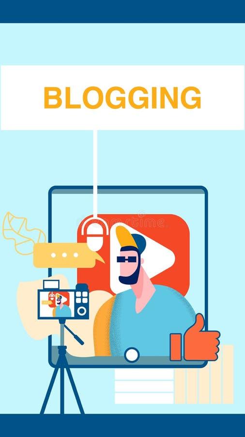 Internet-Videoblog-Netz-Fahne, Flieger-Schablone stock abbildung