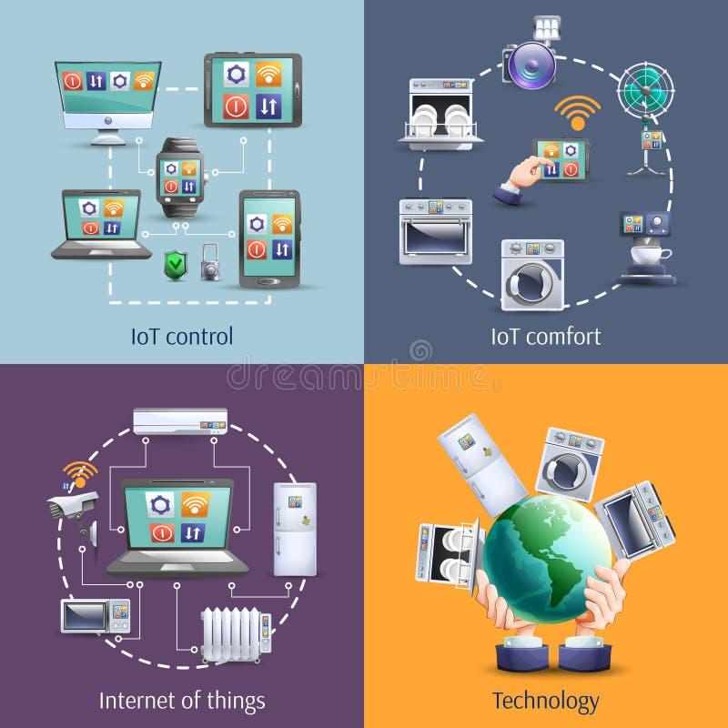 Internet von Sachen 4 flache Ikonen lizenzfreie abbildung