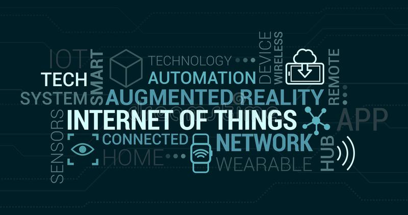Internet von Sachen und von vergrößertem Wirklichkeitstag-cloud lizenzfreie abbildung