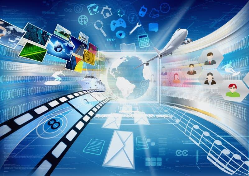 Internet voor Delen het Van verschillende media royalty-vrije illustratie