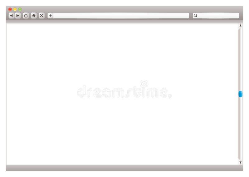 Internet web browser slider. Blank internet browser with navigation arrows and slider stock illustration