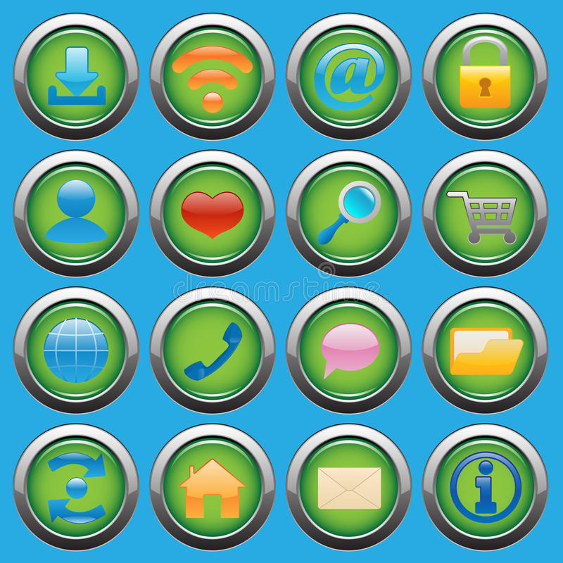 Internet Web glossy icons set stock illustration