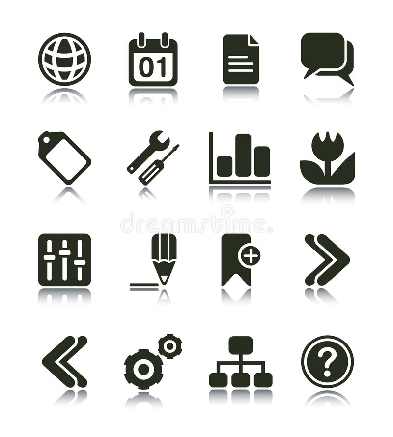 Internet & Web Icon. Internet Web icons with reflections. Black & white series PART 2 stock illustration