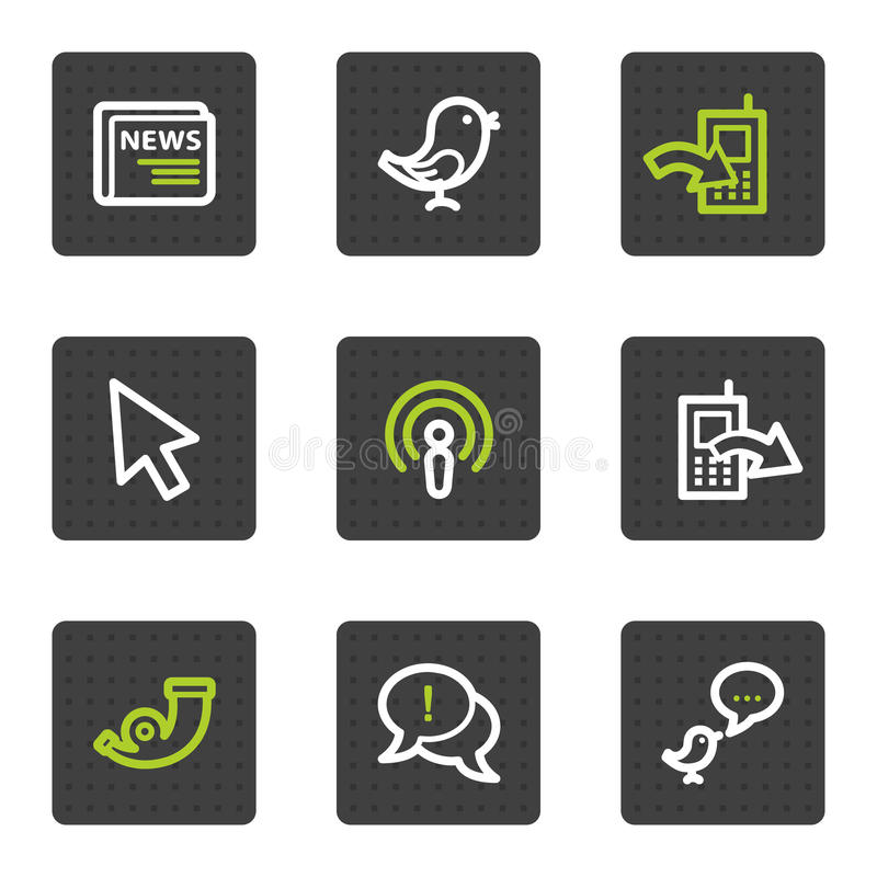 Internet web icons set 2, grey square buttons stock illustration