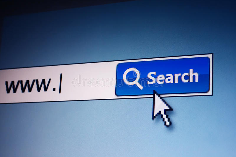 Internet web search. Web search screen with text of www