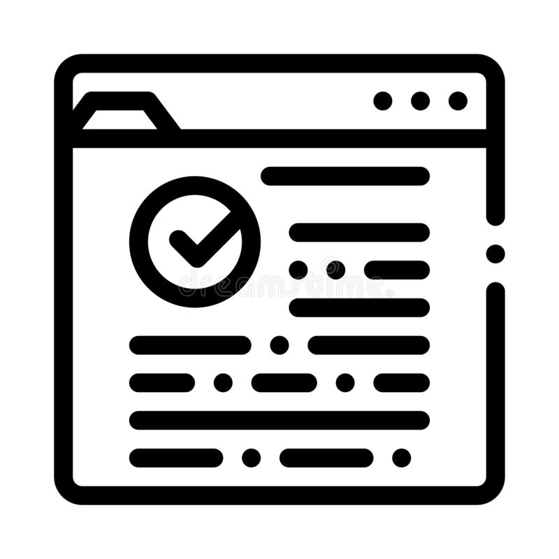Internet Web Site With Approved Mark Vector Icon. Thin Line. Approved Sign On Document File And Hands, Computer Monitor And Smartphone Display Concept Linear royalty free illustration