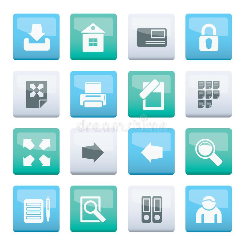 Internet and Web Site Icons over color background royalty free illustration