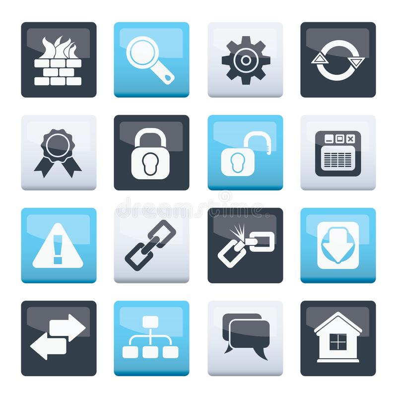 Internet and web site icons over color background. Vector icon set stock illustration