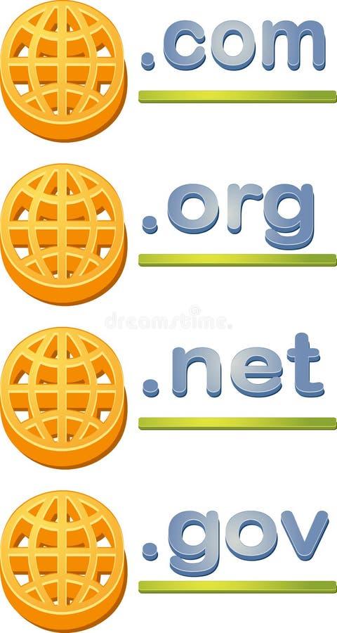 Internet website domain extensions. Internet website www domain url name extensions com gov org net stock illustration
