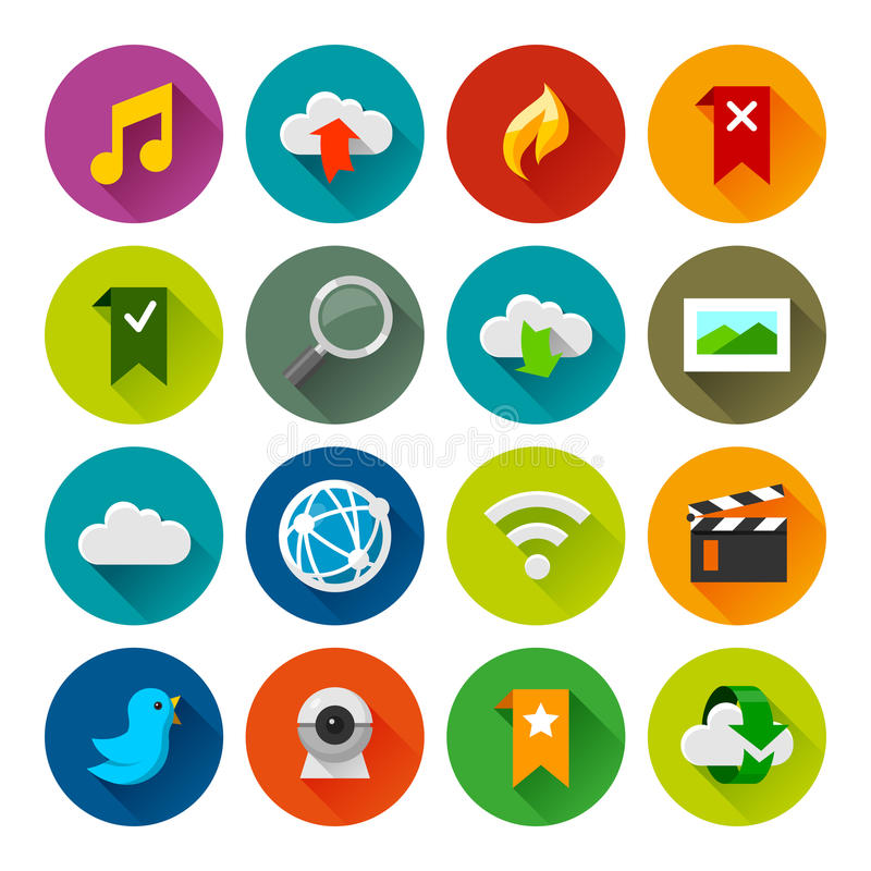 Internet and wedsites icons – Fllate series royalty free stock photography