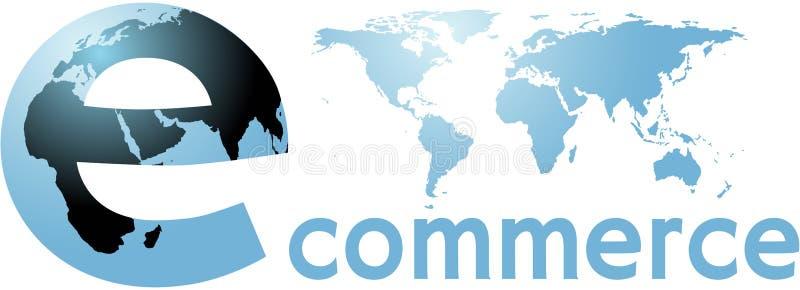 Internet-Weltwort des elektronischen Geschäftsverkehrs globales Erd vektor abbildung