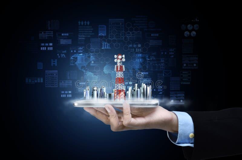Internet Wireless-technologie-verbindingsconcept royalty-vrije stock afbeeldingen