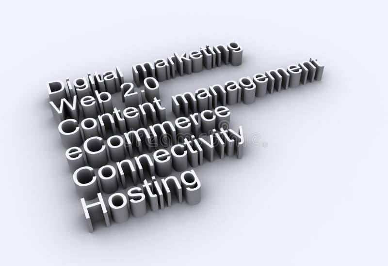 Internet words - web 2.0. Internet buzz words - Web 2.0, eCommerce marketing stock illustration