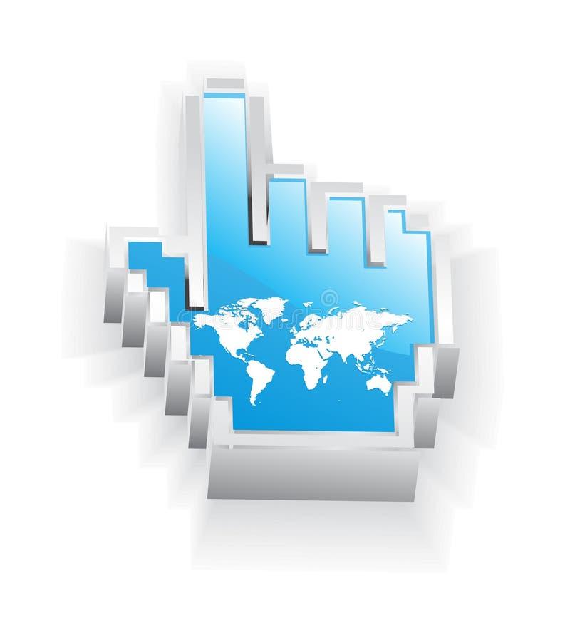 Internet world map. A blue internet world map icon vector illustration