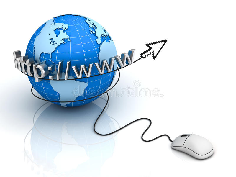 Internet World Wide Web Concept. Earth globe with computer mouse with arrow cursor on white background stock illustration