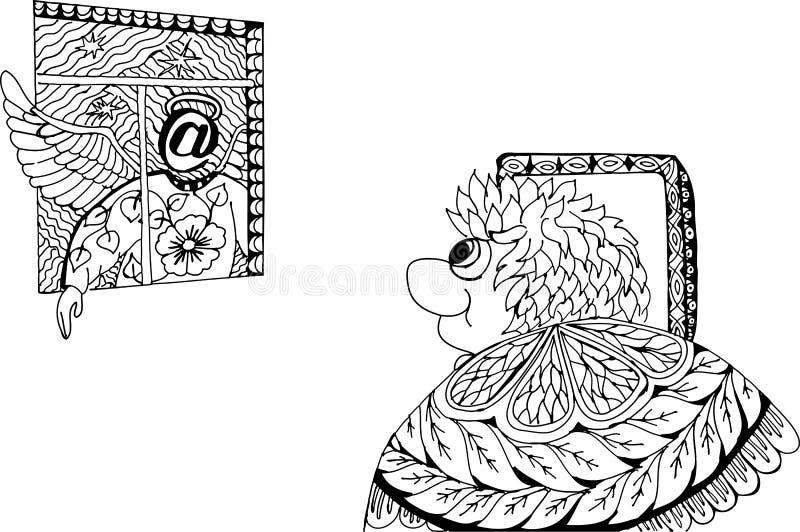 Internet wspinaczki z okno Siedział długiego czas na internecie ilustracja wektor