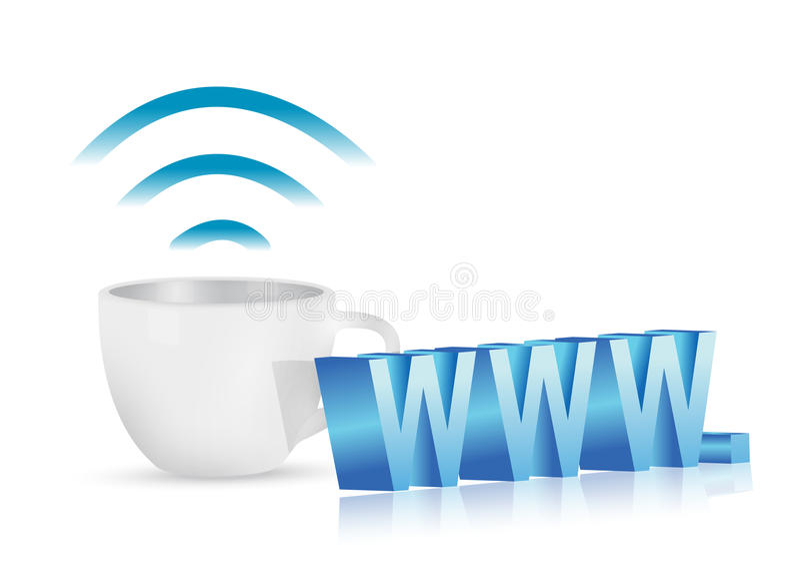 Internet-WWW-Kaffeetasse-Konzeptillustration vektor abbildung