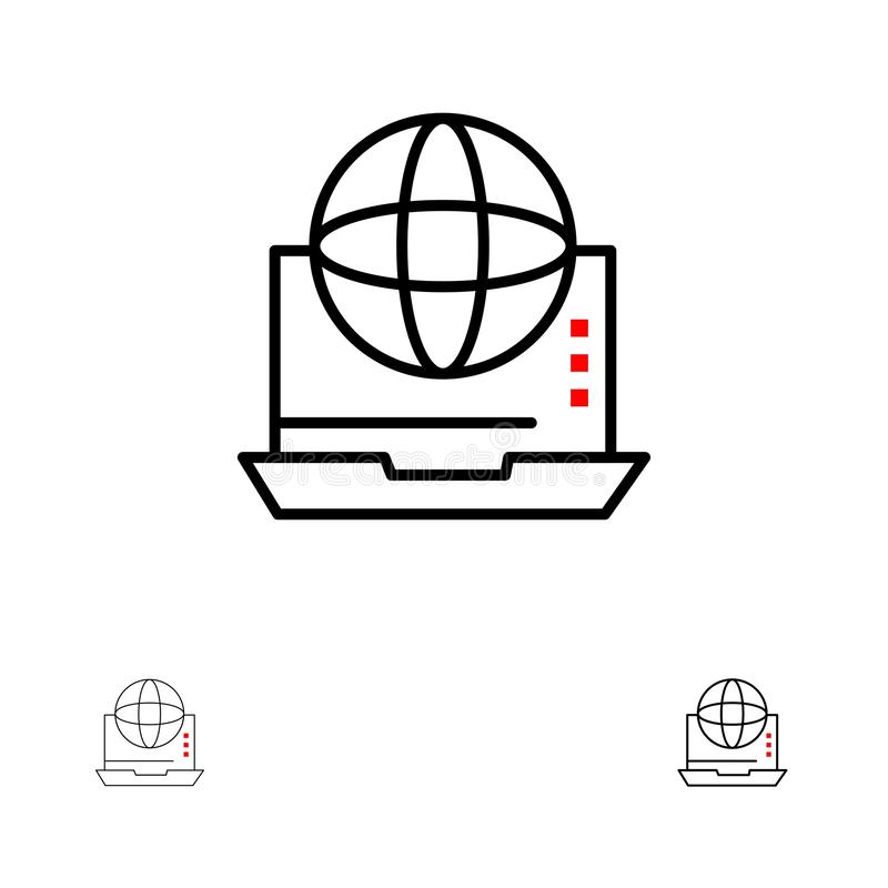 Internet, Zaken, Mededeling, Verbinding, Netwerk, online de Gewaagde en dunne zwarte reeks van het lijnpictogram stock illustratie