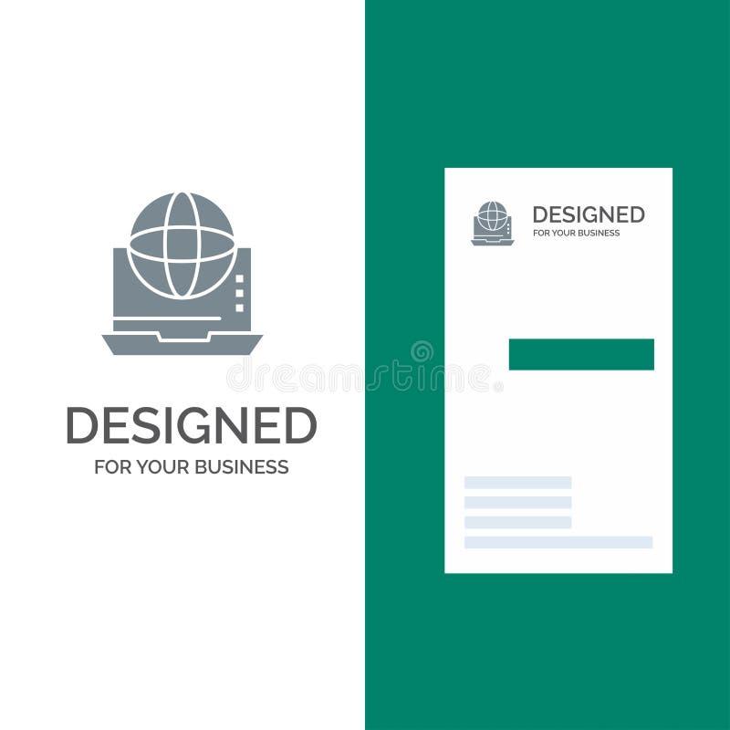 Internet, Zaken, Mededeling, Verbinding, Netwerk, Online Grey Logo Design en Visitekaartjemalplaatje royalty-vrije illustratie