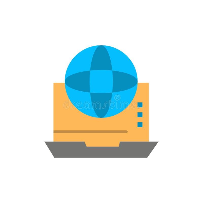 Internet, Zaken, Mededeling, Verbinding, Netwerk, Online Vlak Kleurenpictogram Het vectormalplaatje van de pictogrambanner royalty-vrije illustratie
