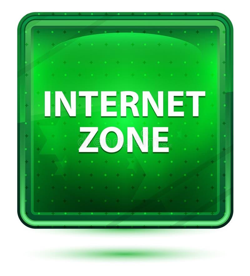 Internet-Zonen-hellgrüner quadratischer Neonknopf vektor abbildung