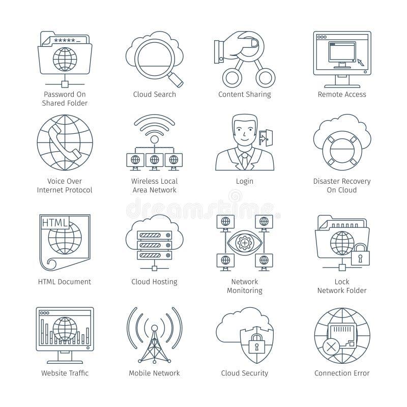 Interneta I sieci Cienkie Kreskowe ikony royalty ilustracja