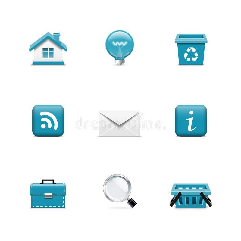 Interneta i sieci ikony. Azzuro serie ilustracja wektor