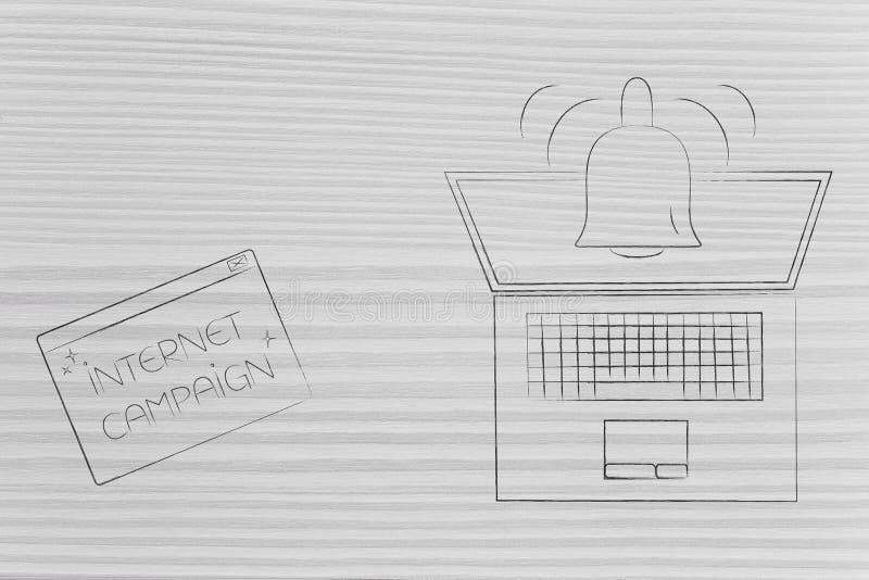 Internetaktionpop-upp bredvid bärbara datorn med meddelandesymboler royaltyfri illustrationer