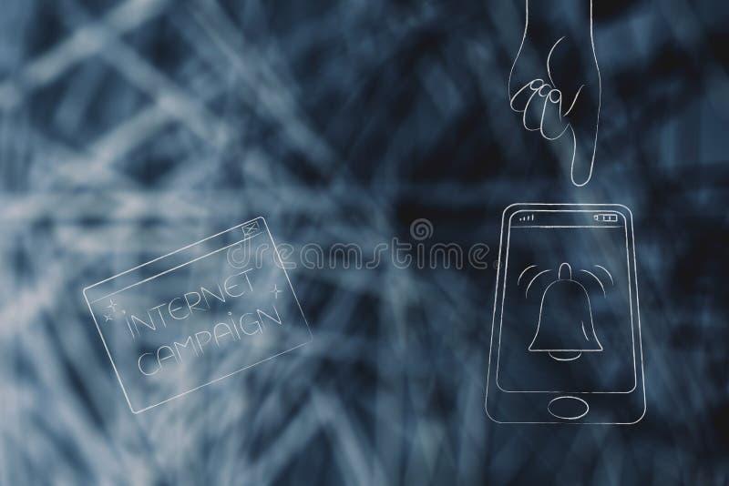 Internetaktionpop-upp bredvid smartphonen med meddelandet ic vektor illustrationer