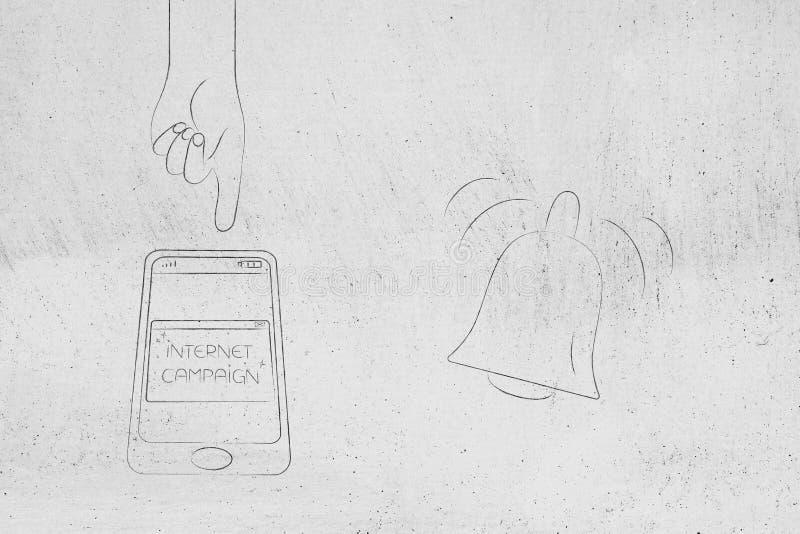 Internetaktionpop-upp på smartphoneskärmen med handen om t vektor illustrationer