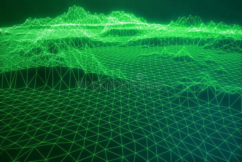 Internetanschluss der Illustration 3D, abstrakte Richtung des Wissenschaft und Technik Konzeptbildcyberspace-Landschaftsgitter lizenzfreie abbildung