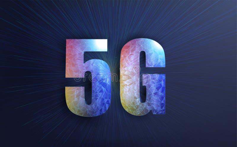 Internetanschluss des Plakat-5g Kreative Vektorillustration der Technologie der Signalübertragung 5G, stock abbildung